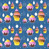 Seamless pattern of cupcakes. Seamless pattern of sweet cupcakes Royalty Free Stock Image