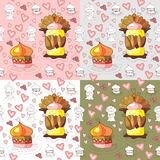 Seamless pattern of cupcakes. Seamless pattern of sweet cupcakes Royalty Free Stock Photography