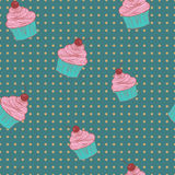 Seamless pattern of cupcakes. Royalty Free Stock Image