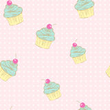 Seamless pattern of cupcakes. Stock Photo