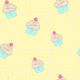 Seamless pattern of cupcakes. Royalty Free Stock Photography