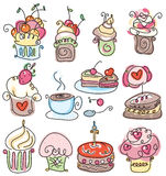 Seamless pattern of cupcakes for sweet design. Stock Photo