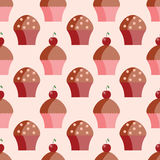 Seamless pattern of cupcakes Stock Images