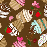 Seamless pattern of cupcakes Royalty Free Stock Photo