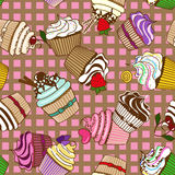 Seamless pattern of cupcakes stock illustration