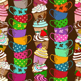 Seamless pattern of cupcakes and tea cups Stock Photo