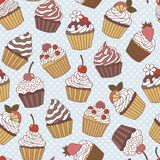 Seamless pattern of cupcakes. Vector illustration royalty free illustration