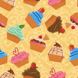 Seamless pattern with cupcakes Royalty Free Stock Images