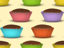 Seamless pattern of cupcakes Stock Photo