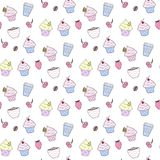 Seamless pattern with cupckaes. stock illustration