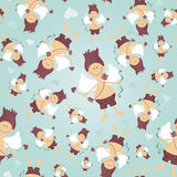 Seamless pattern with Cupid Stock Photos