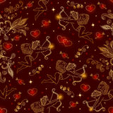 Seamless pattern with cupids and hearts Stock Photo