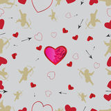 Seamless pattern with cupids and hearts. Vector set 1 Stock Images