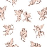 Seamless pattern Cupids holding bows and shooting arrows on white background. Backdrop with pink cute angels, gods of vector illustration