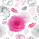 Seamless pattern with Cupids, roses and love symbols Royalty Free Stock Photography
