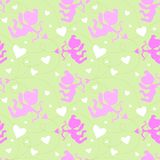 Seamless pattern with cupids. Stock Photo