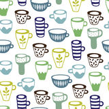 Seamless pattern with cups Royalty Free Stock Photo
