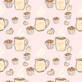 Seamless pattern with cups of cocoa, chocolate cakes,. Marshmallows and retro style inscriptions. Vector image in pastel color Royalty Free Stock Photography