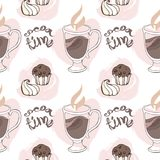 Seamless pattern with cups of cocoa, chocolate cakes,. Marshmallows and retro style inscriptions. Vector image in pastel color Stock Images