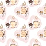 Seamless pattern with cups of cocoa, chocolate cakes,. Marshmallows and retro style inscriptions. Vector image in pastel color Stock Photos