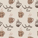 Seamless pattern with cups of cocoa and inscriptions Royalty Free Stock Image