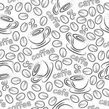 Seamless pattern with cups and coffee grains. Royalty Free Stock Photo
