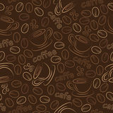 Seamless pattern with cups and coffee grains. Stock Images