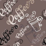 Seamless Pattern with Cups of Coffee (Vector) Royalty Free Stock Photo