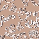 Seamless Pattern with Cups of Coffee (Vector) Stock Photo