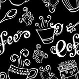 Seamless Pattern with Cups of Coffee (Vector) Royalty Free Stock Photos