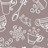 Seamless Pattern with Cups of Coffee (Vector) Stock Image