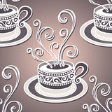Seamless Pattern with Cups of Coffee (Vector) Royalty Free Stock Image