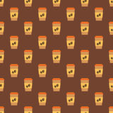 Seamless pattern with cups of coffee Royalty Free Stock Photography