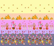 Seamless pattern with cups, flowers, berries, birds and butterflies. Royalty Free Stock Images