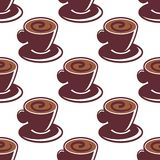 Seamless pattern of cups of hot cappuccino Stock Image