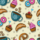Seamless pattern with cups and sweets. On a light background Royalty Free Stock Images