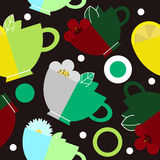 Seamless pattern with cups of tea Stock Image
