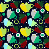 Seamless pattern with cups of tea Royalty Free Stock Photography