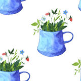 Seamless pattern with cups of tea Stock Photo