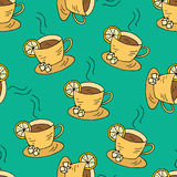 Seamless pattern with cups of tea and lemon. Stock Photography