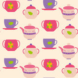 Seamless pattern cups and teapot Stock Photos