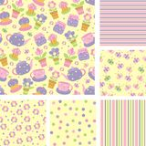 Seamless pattern with cups,  teapots, cakes, flowers Royalty Free Stock Image