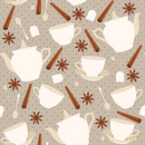 Seamless pattern with cups and teapots and cinnamon sticks Stock Photography