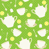 Seamless pattern with cups and teapots and raspberry Stock Photo