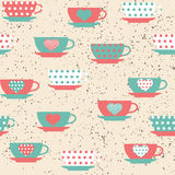 Seamless pattern with cups Royalty Free Stock Photography