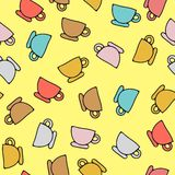 Seamless pattern of cups. Vector illustration of seamless pattern of cups. For design of menu of restaurants and cafe Stock Image