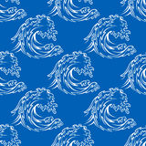 Seamless pattern of a curling waves Stock Images