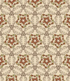 Seamless pattern with curls and floral motif. On beige background Stock Photo