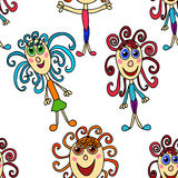 Seamless pattern with curly girls Stock Images