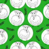 Seamless pattern with curly sheep on a green Stock Photography
